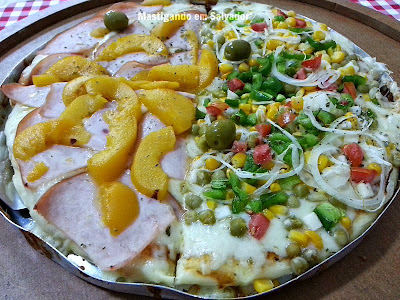 Sabor da Pizza: Pizza metade Sabor da Pizza metade Tropical