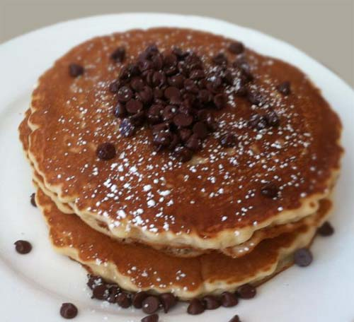 Pancakes with Powdered Sugar and Chocolate Chips