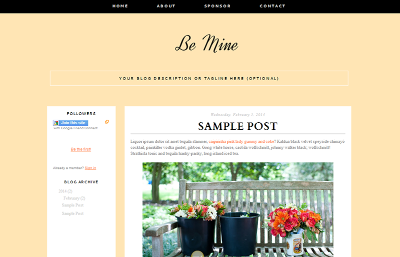 Blogger Design Template Sample: Be Mine ($35)