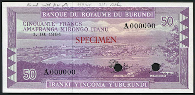 Currency of Burundi 50 Francs Bujumbura