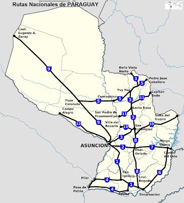 Rutas Nacionales del Paraguay. mapa grande