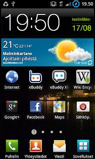 Samsung galaxy s2 työpöytä touchwiz