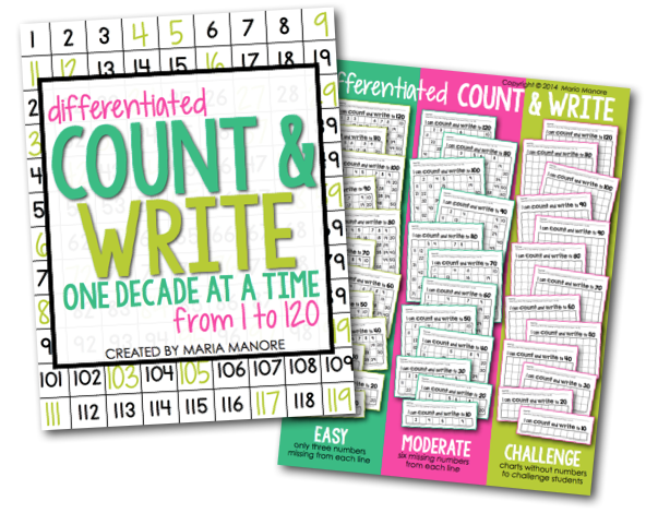 differentiated number writing pages for kindergarten and grade 1