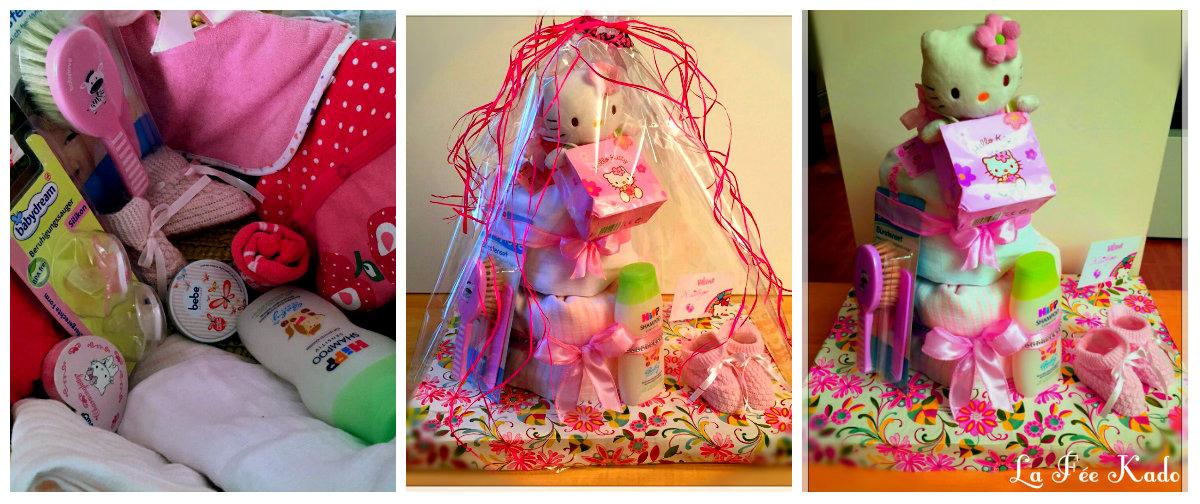 La f e kado g teau de couche hello kitty en rose pour fillette - Gateau de couche hello kitty ...