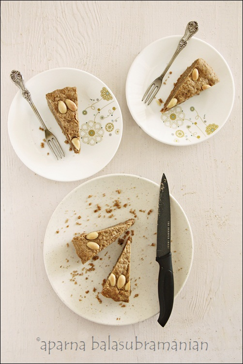 Eggless Coffee Almond Cake