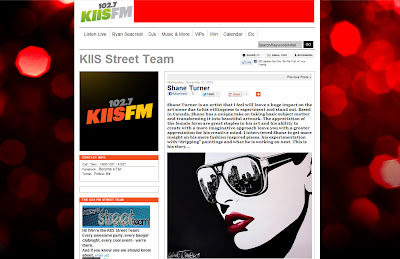 Screenshot of Kiis Fm interview with Montreal pop artist Shane Turner