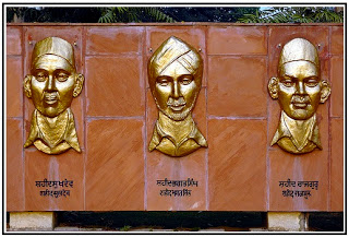 The National Martyrs Memorial built at Hussainiwala in memory of Bhagat Singh, Rajguru and Sukhdev.
