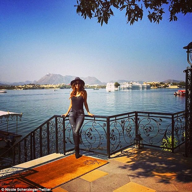Nicole Scherzinger arrive at Udaipur