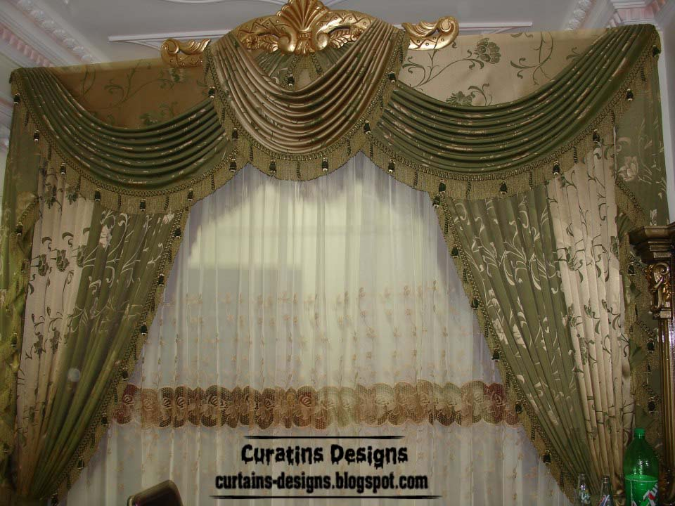 Luxury drapes curtain design for bedroom, green with gilded crown ...