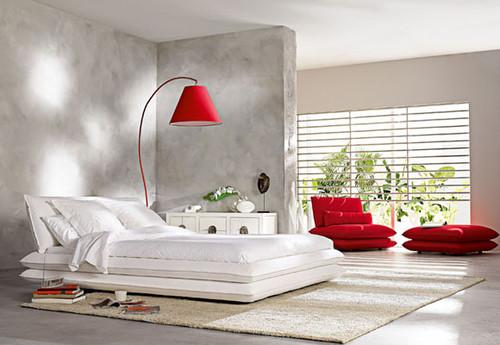 quarto de casal, branco e vermelho