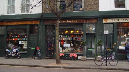 1) Troubadour, Earl's Court Vintage coffee pots wink at you from the front ...
