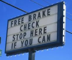 Hilarious Free Car Brake Check Sign Photo