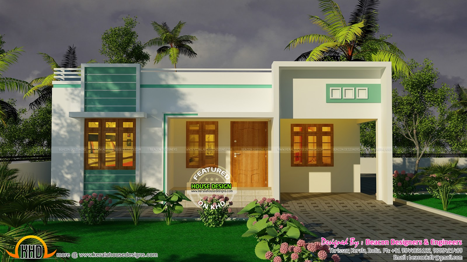 Finished house with interior photos keralahousedesigns for One floor house images