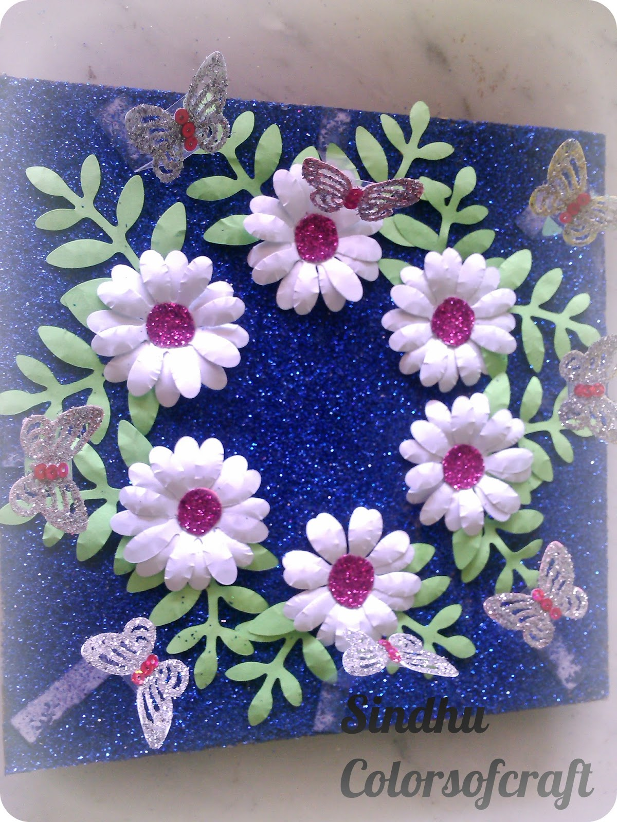 Colors of my crafty world punch flowers aarathi plate for Aarathi plates decoration