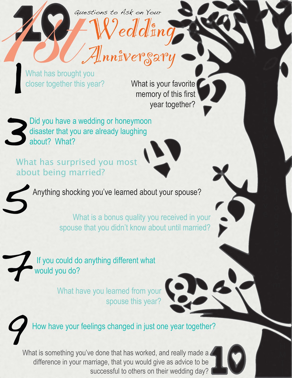 10 Year Wedding Anniversary Gift For Sister : 10 Questions to Ask on Your 1st Anniversary