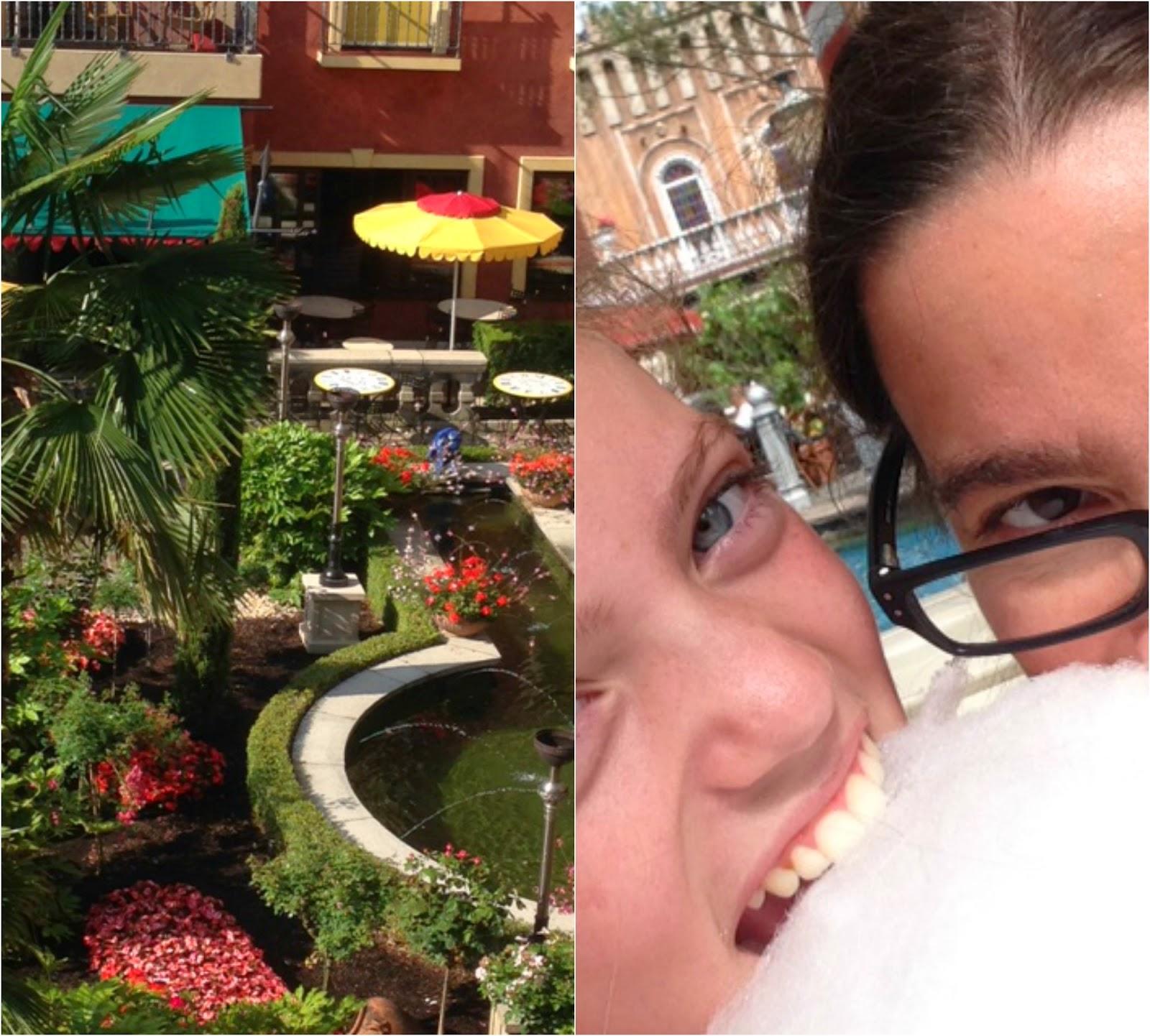 Unser Blick vom Balkon und die obligatorische Zuckerwatte, die mein Handydisplay komplett verklebt hat