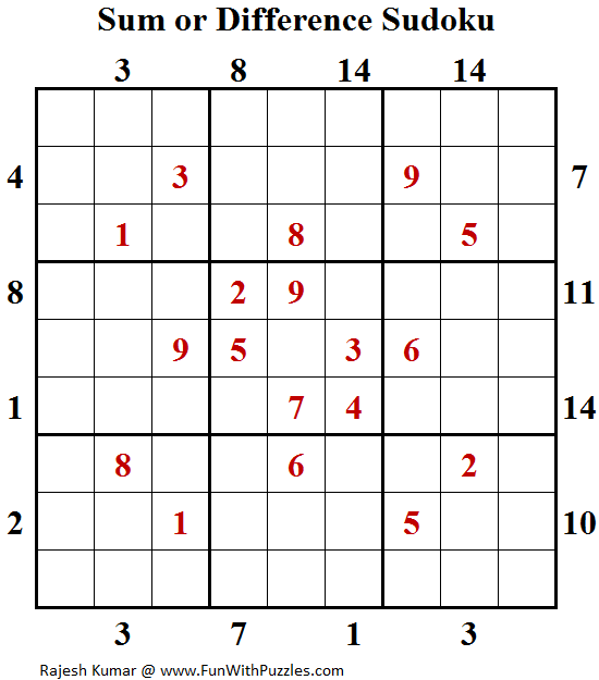Sum or Difference Sudoku (Daily Sudoku League #140)