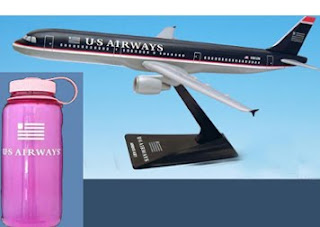 model airplane and water bottle
