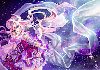 Beautiful Pink Long Hair Cool Dress Flower Night Sky Stars Girl Anime HD Wallpaper Desktop PC Background 1851