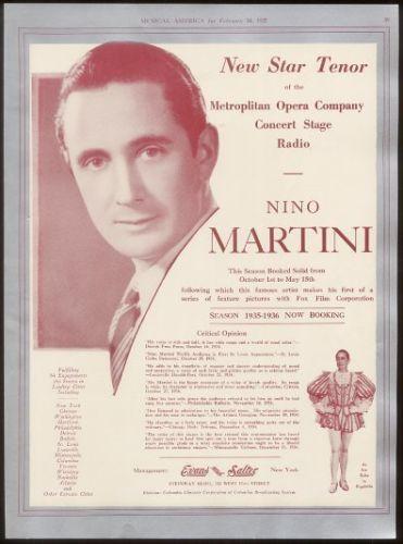 GREAT ITALIAN TENOR NINO MARTINI (1905 – 1976) CD