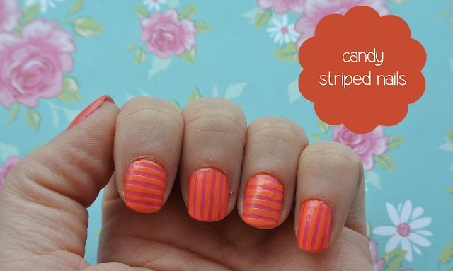 sunday nails candy striped