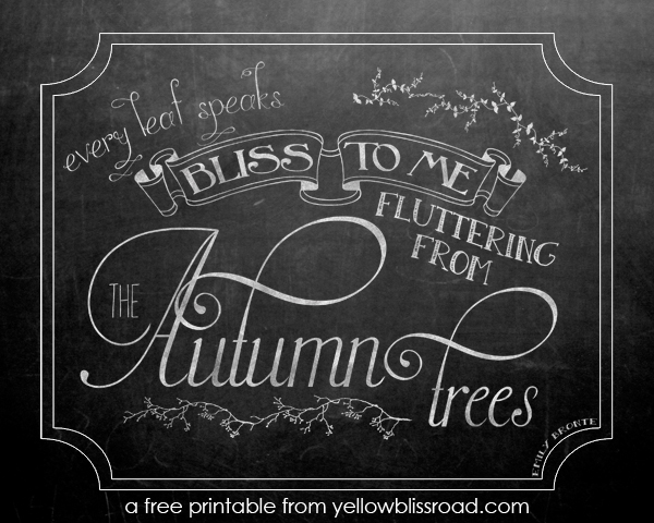 Autumn chalkboard free printable and template yellow bliss road for Printable chalkboard template