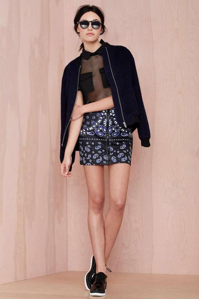 Nasty Gal 2015 Pre-Spring Black Fishnet Two Pocket Polo T-Shirt