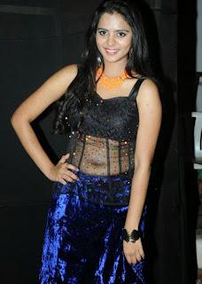 Manasa in Black Transparent Top with Black Choli and Velvet Skirt