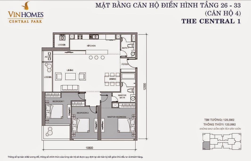 Mặt bằng căn hộ Vinhomes Central Park số 4 tầng 26 - 33