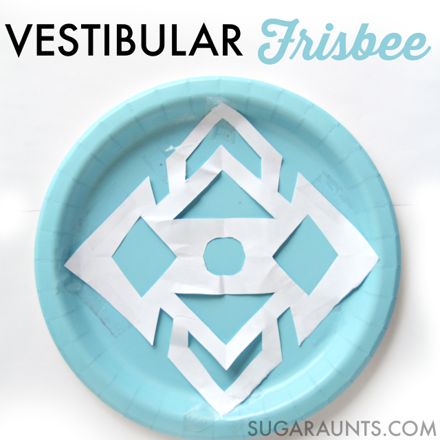 Super easy and SO fun Vestibular Frisbee activity for indoor play this winter.  Get the kids moving!