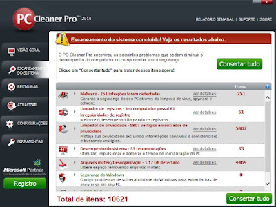 PC Cleaner PRO 2016 – Tela do programa