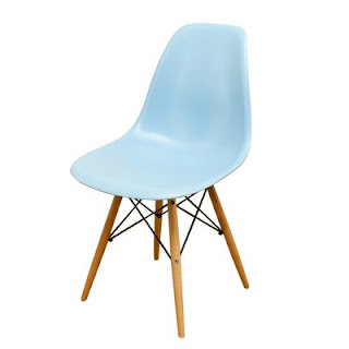 Replica Eames chairs in blue