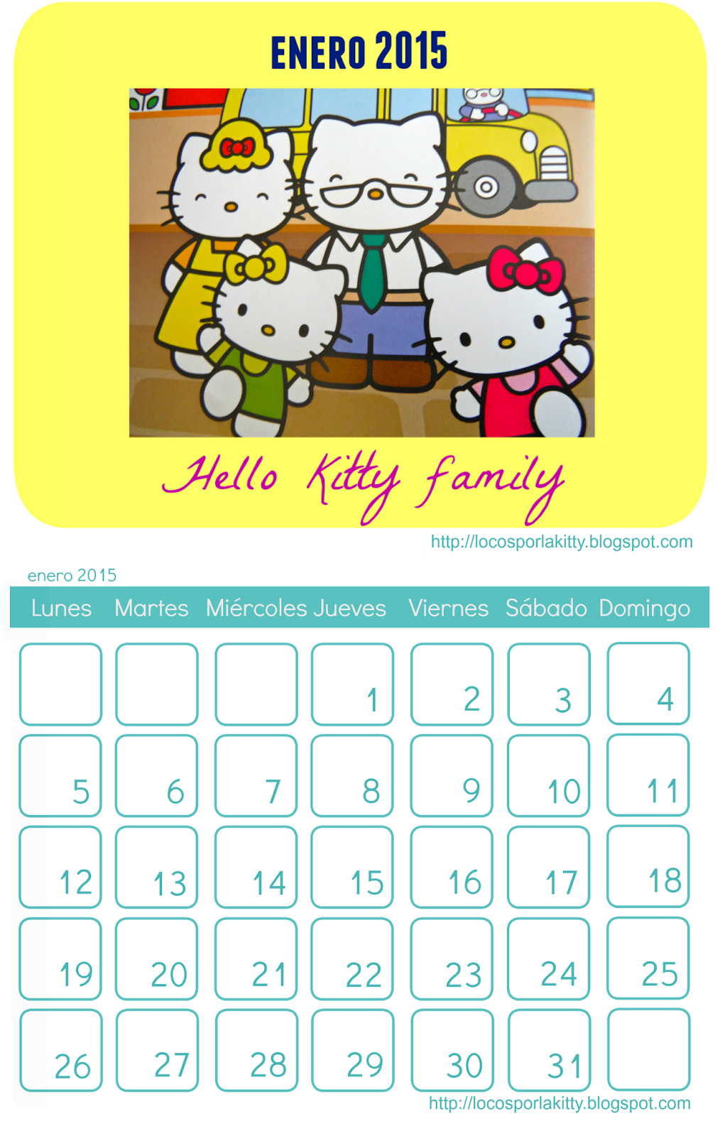 Calendario Hello Kitty Enero 2015 : Locos por Hello Kitty