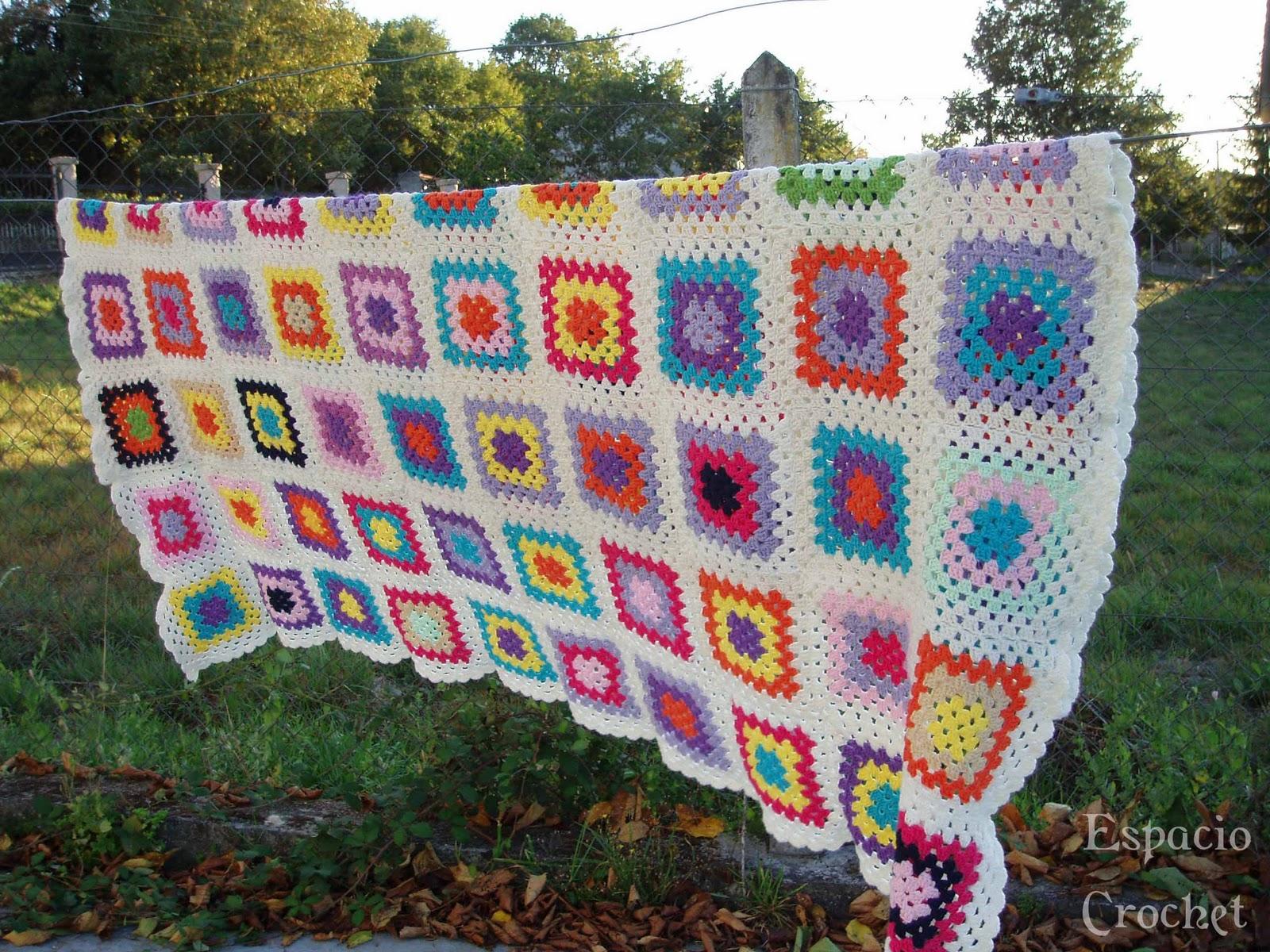 Manta de ganchillo espacio crochet - Mantas de ganchillo para sofas ...