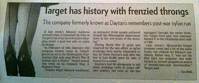 News story with headline Target has history with frenzied throngs
