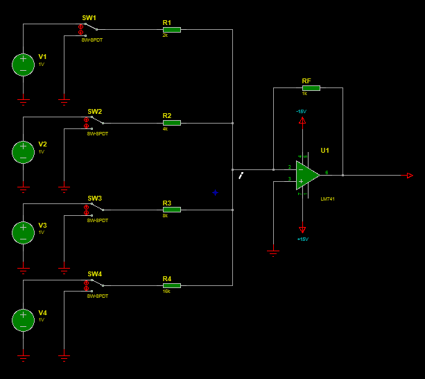 summing amplifier with input switches as DAC