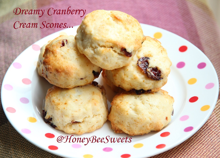 Honey Bee Sweets: Dreamy Cranberry Cream Scones