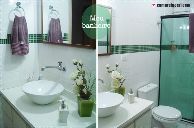 Comprei por aí ♥ Decor Verde -> Banheiro Pequeno Branco E Verde