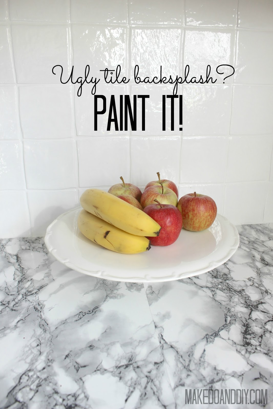 painted tile backsplash-cover those ugly tiles! ~ Make Do and DIY