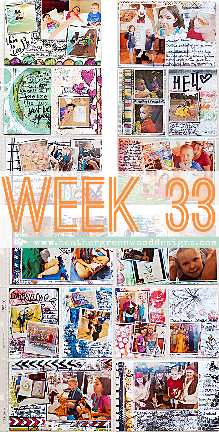 Heather Greenwood Designs | Week 33 | The Lilypad Mixed Media Monthly | #mixedmedia #hybridscrapbooking #pocketscrapbooking