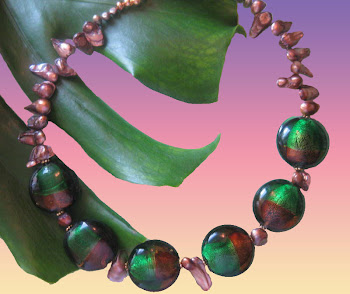 Malachite and Agate Colored Glass & Khaki Pearls Beaded Necklace Trendy Fashion Jewerly