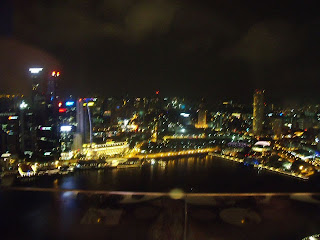 night view of central business district singapore