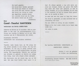 Bidprentje van oud-strijder-vuurkruiser Camil-Theofiel Bartsoen 1892-1995
