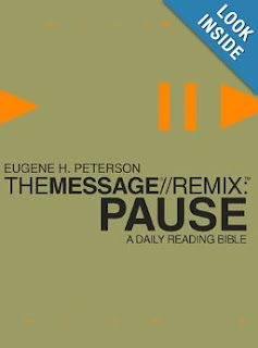 http://www.amazon.com/The-Message-REMIX-Pause-Reading/dp/1576838439/ref=sr_1_6?ie=UTF8&qid=1377368237&sr=8-6&keywords=message+remix+bible