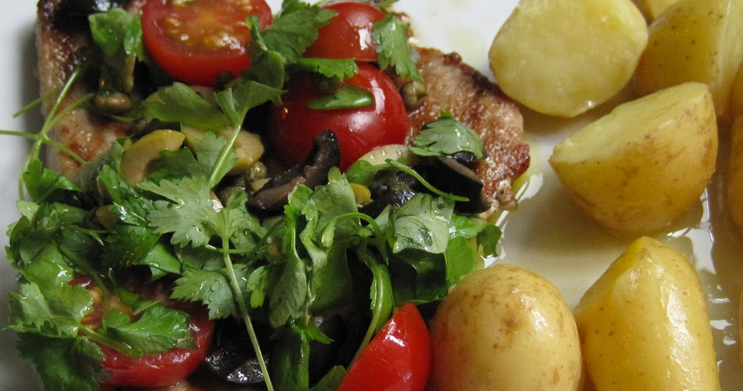 ... of Oil : Griddled Tuna Steaks with a Tomato Caper and Olive Dressing