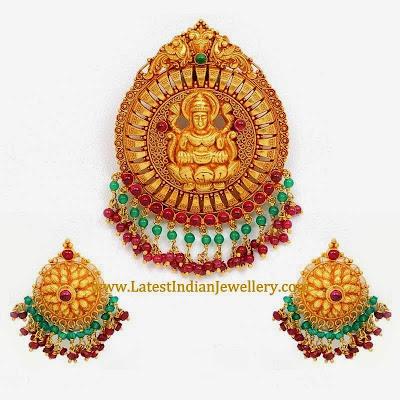 Antique Gold Lakshmi Pendant