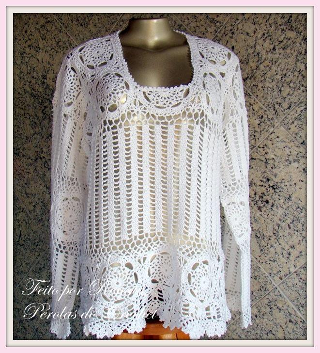 PErolas do Crochet: Blusa de Croche manga longa - Modelo Zang