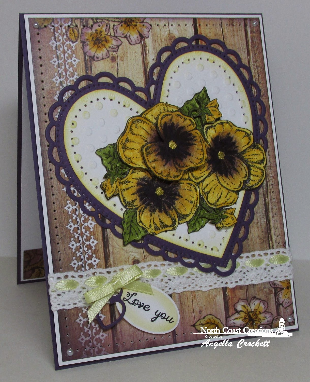 NCC Pansies, NCC Heaven's Masterpiece, ODBD Custom Ornate Hearts Dies, ODBD Custom Mini Tags Dies, ODBD Rustic Beauty Paper Collection, Card Designer Angie Crockett