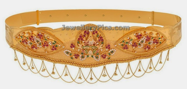 ruby emerald studded lakshmi devi gold vaddanam from GRT jewels