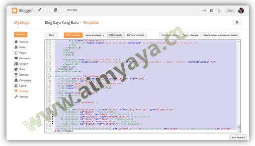 Gambar: Memilih teks kode HTML pada editor template blog